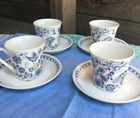 4X Lot Vtg MCM Figgjo Flint Turi-Design Lotte Notched Based Cup & Saucer Sets