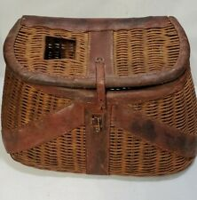 Vintage Wicker & Leather Creel Fish Basket with Ruler Made in British Hong Kong
