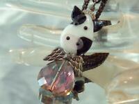 XX CUTE Vintage 80's Crystal Art Glass Cow Pendant Black Chain Necklace 793ag0