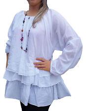 Women's Tunic Lagenlook Layered Top Plus Size 26 EU 54 White