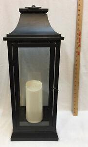 "Lantern Candle Holder Pillar Black Glass Metal 27"" LARGE Battery Operated Flick"