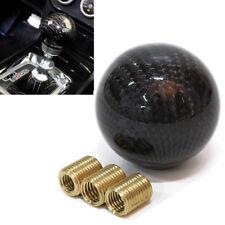 1 Set Round Ball Shape Carbon Fiber Gear Shift Knob Black New For Universal Car