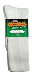 Extra Wide Comfort Athletic Crew Sport Socks MADE IN USA Big & Tall Biggest Sock