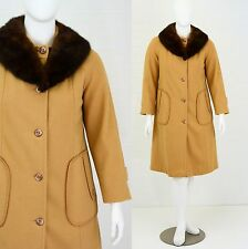 Vintage Womens L 12 Camel Brown Wool Blanket Stitch A Line Coat Swing Fur Collar