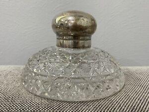 Antique German Hermann Behrnd .800 Silver Mounted Cut Glass Inkwell