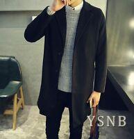 Men Wool Blend Trench Coat Autumn Mid Long Jacket Slim Fit Korean Lapel Overcoat