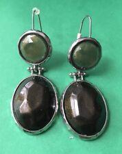 Boho Green Brown Earthy Plastic Bead Dangle Earring Wire Pierced Fashion Jewelry