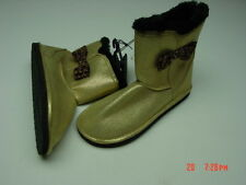 NWOT Womens Fashion Boots Muk Luk Style Mukluks Gold Glitter Black Leopard Bow