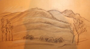 Pastel drawing mountain landscape