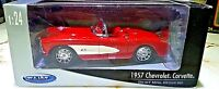 WELLY 1957 Chevy Corvette Convertible Red w White 1:24 Scale Diecast