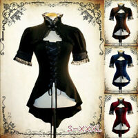 Steampunk Women Gothic Short Sleeve Lace T-shirt Victorian Lace up Tops Costume