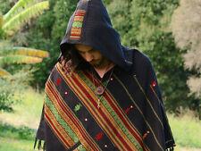 Black Poncho with Hood Kashmiri Wool, Earthy Tribal Pattern Festival Gypsy