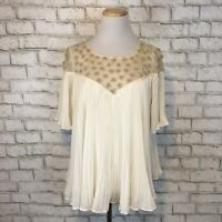 Floreat Anthropologie Women's Pleated Cream Short Sleeve Blouse Shirt Size 12