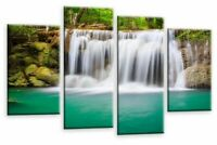 Le Reve Waterfall Landscape Wall Art Teal Grey White Canvas Print Forrest Split