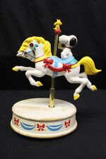 Vintage Hand Painted Willits Peanuts Snoopy & Woodstock Musical Carousel Horse
