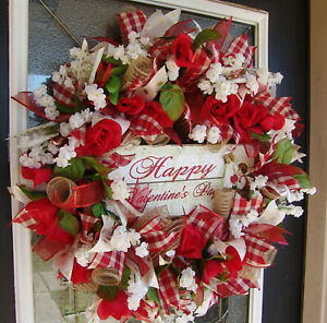 Romantic Vintage Style Happy Valentine's Day Mesh Wreath Home Decor Decoration