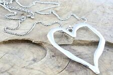 Large abstract silver metal heart pendant on chain necklace lagenlook gift