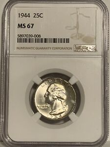 NGC Graded MS 67 1944 Washington Silver Quarter 25C Coin Uncirculated