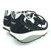 Womens Skechers Shape Ups 9.5 Rocker Soles Black White Leather Athletic Sneakers