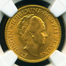 NETHERLANDS 1927 GOLD COIN 10 GULDEN * NGC CERTIFIED GENUINE MS 64 * AWESOME