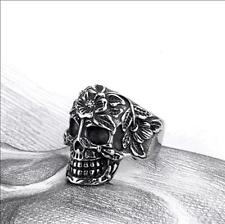Mens Stainless Steel Skull Head Bone Silver Flower Band Ring Jewelry Size 8-11#