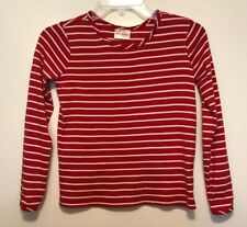 Hanna Andersson Girl's 140 US 10 Pima Cotton L/S T-shirt Top Red & White Stripe