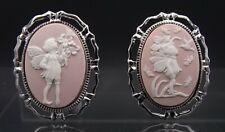 Set of 2 Rhodium Plated Fairy Child Cameo Brooch Pins