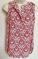 Ann Taylor LOFT Cami XS Tank Top Blouse Sleeveless Button Shirt Red Pink Floral