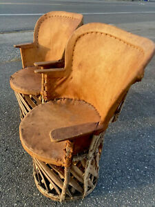 Vintage 2 Mexican Pigskin Chairs Wicker Leather Southwest Equipales Arm Rests