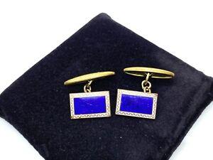 Pair of Antique Art Deco Dark Blue Enamel Gilt Metal Chain Cufflinks