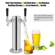 Double Taps Stainless Steel Draft Beer Tower Dispense Drinking Faucet Kit