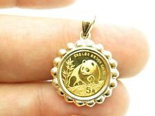 1990 Chinese Panda 1/20 OZ .999 Fine Gold Coin Bullion Charm Pendant Gift