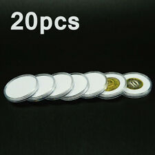 20Pc 51mm Clear Round Plastic Coin Holder Capsule Container Storage Case Box Set