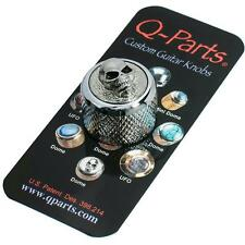 Q-Parts Dome Guitar Knob, Chrome with ANGRY SKULL Inlay, KCD0119