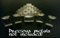 Lot of 10 X 1 Gram .999 Fine Silver/Gold Bar Acrylic Holders/Cases