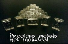 Lot of 10 X 1 Gram/5 grain Silver Gold Copper Platinum Bar Acrylic Holders/Cases