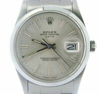 Mens Rolex Date Stainless Steel Watch Quickset Domed Bezel Silver Dial 15000