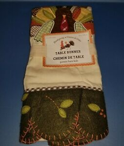THANKSGIVING New Pottery Barn Kids TURKEY Give Thanks Table RUNNER embroidered