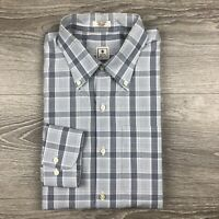 Men's Peter Millar Button Down Shirt Size XL Long Sleeve Cotton Gray Plaid Check