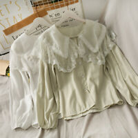Women Sweety Lace Blouse Lolita Shirt Puff Sleeve Peter Pan Collar Mesh Top