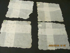 4 Vintage Madeira Embroidered White Linen Wedding? Unused Hankies Malley's Nwt