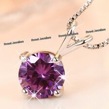 925 Silver Purple Crystal Pendant Necklace - Xmas Jewellery Gifts For Her Women