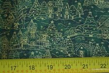 By 1/2 Yd, Gold Village on Green Quilting Cotton,Beachwood/Tis the Season, N358