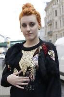 Flam Pullover mit Applikationen schwarz Mohair Perlen 80er True VINTAGE 80s