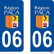2 Stickers plaque d'immatriculation AUTO département 06