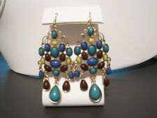 STYLE AND COMPANY GOLD TONE DANGLE MULTI COLOR EARRINGS