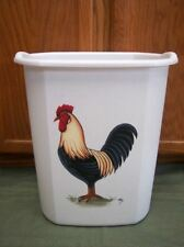 HAND PAINTED ROOSTER WASTE PAPER BASKET/BY MB