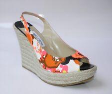 JIMMY CHOO Polar Floral Print Open Toe Slingback Wedge Sandal Shoe 42 NIB