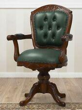 Sedia stile inglese Chester con schienale trapuntanto e braccioli in mogano