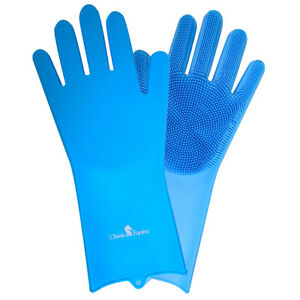 C-VEBL Classic Equine Horse Grooming Wash Gloves Blue